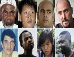 Eight of the 10 awaiting execution (top row from left): Nigerian Martin Anderson, Australians Andrew Chan and Myuran Sukumaran, Frenchman Serge Atlaoui. Bottom row: Brazilian Rodrigo Gularte, Nigerian Raheem Agbaje Salami, Filipina Mary Jane Fiesta Veloso, and Nigerian Sylvester Obiekwe Nwolise. BBC Photo