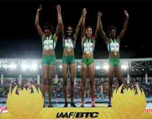 .Nigeria, winners of the women's 4x200m