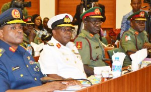 From left, Chief of Air Staff, Air Vice Marshal Sadiq Baba Abubakar; Chief of Naval Staff, Rear Admiral Ibok-Ete Ekwe Ibas; Chief of Army Staff, Major General Tukur Burutai and Chief of Defence Staff, Major-General Abayomi Gabriel during Service Chiefs confirmation meeting with Ad-Hoc Committee on Screening of the Service Chiefs of the Senate, at the National Assembly, Abuja, yesterday. Photo: Gbemiga Olamikan.
